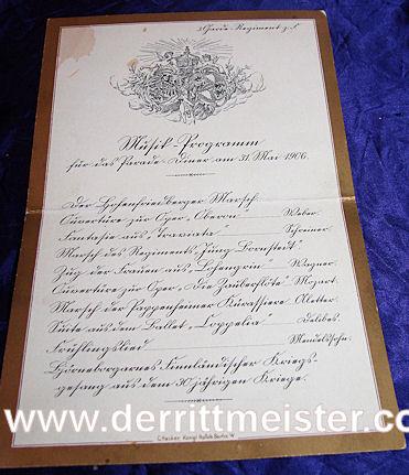 PRUSSIA - MUSIC PROGRAM - HOSTED - OFFICERS - 3. GARDE-REGIMENT zu FUß - Imperial German Military Antiques Sale