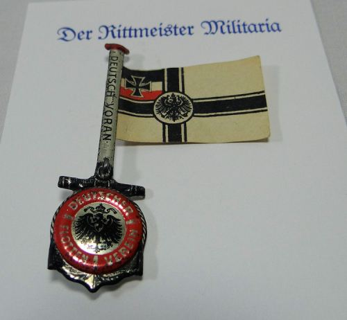 GERMANY - PATRIOTIC PIN - DEUTSCHE FLOTTEN OPFERTAG 1 OCTOBER 1916 BADGE - Imperial German Military Antiques Sale