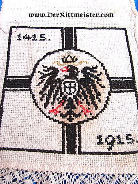 GERMANY - CROCHETED/EMBROIDERED HOT PAD - COMMEMORATING 500 YEARS OF GERMANY (1415-1915) - Imperial German Military Antiques Sale