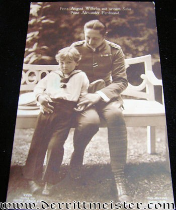 POSTCARD - KRONPRINZ WILHELM AND SON PRINZ ALEXANDER FERDINAND - Imperial German Military Antiques Sale