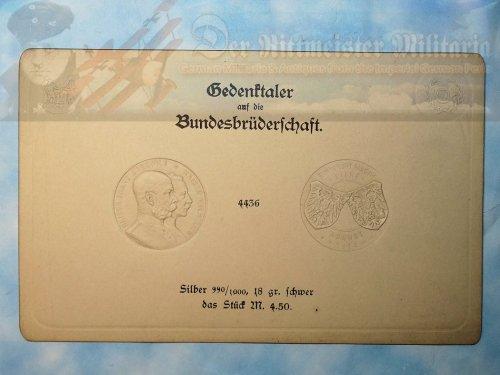 IMPERIAL GERMAN 4.5 MARK COIN IMPRESSION CARD - KAISER WILHELM II AND KAISER FRANZ JOSEF