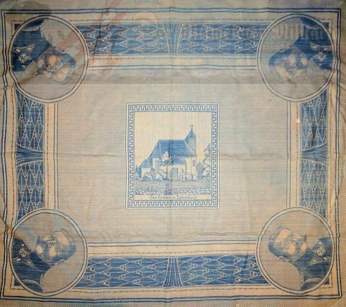 GERMANY - TABLECLOTH  - COMMEMORATING GENERALFELDMARSCHALL PAUL von HINDENBURG'S BATTLE OF TANNENBERG VICTORY - Imperial German Military Antiques Sale