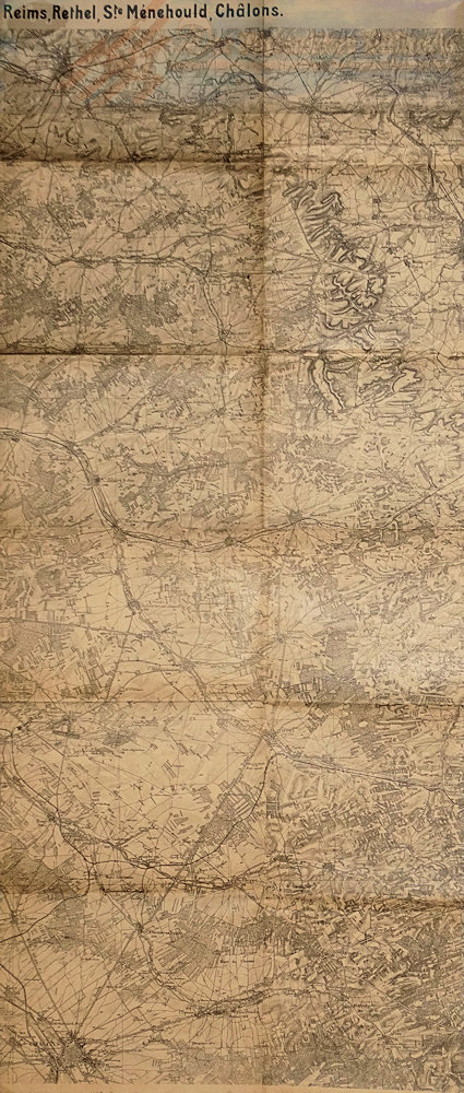 GERMANY - MAP - ARMY MILITARY - REIMS-RETHEL-STE. MENEHOULD-CHALONS - Imperial German Military Antiques Sale