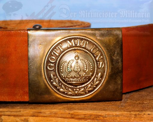 PRUSSIA - BELT AND BUCKLE - ENLISTED MAN / NCO - PRE WW I BRASS BUCKLE