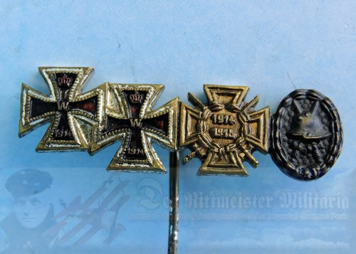 GERMANY - STICKPIN - FOUR PLACE - 1914 IRON CROSS 1ST AND 2ND CLASS - BLACK ARMY WOUND BADGE - HINDENBURG CROSS WITH SWORDS