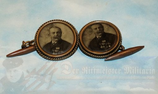 GERMANY - CUFF LINKS - COLORIZED LIKENESS OF OTTO VON BISMARCK