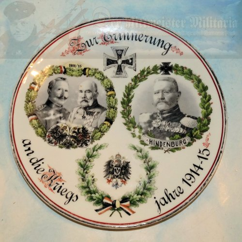 PRUSSIA - PLATE - EARLY WAR - PATRIOTIC - SHOWS KAISER WILHELM II, KAISER FRANZ JOSEF OF AUSTRIA, AND GENERALFELDMARSCHALL VON HINDENBURG