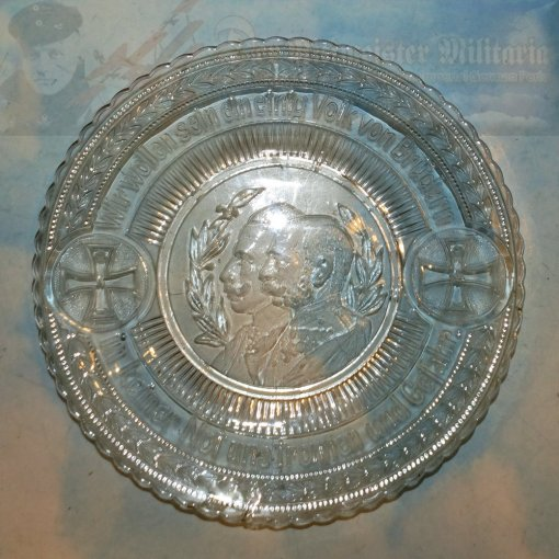 AUSTRIA / GERMANY - PLATE - GLASS - PATRIOTIC - COMMEMORATES THE ALLIANCE OF GERMANY AND AUSTRIA DURING WW I