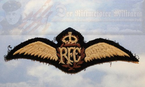 U.K. - BADGE - ROYAL FLYING CORPS - UNIFORM EMBROIDERED PILOT BADGE - Imperial German Military Antiques Sale