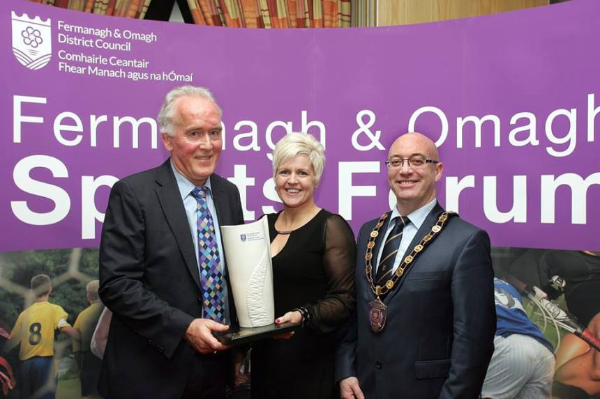 Winner Hugh Kelly pictured with Chairperson of Fermanagh and Omagh Sports Forum, Christine McCann and Chairman of Fermanagh and Omagh District Council, Cllr Thomas O'Reilly. (picture from www.fermanaghomagh.com)