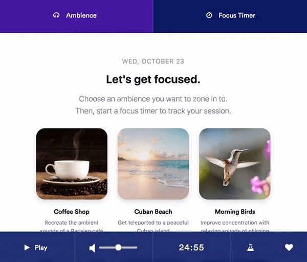 Rofocus for Chrome - Ambient Sounds and Pomodoro Timer to Increase Focus