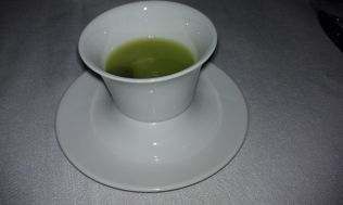 Cucumber soup with lime sorbet