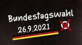 """12.09.2021 – Am 26.09.2021 heisst es wieder """"Sie haben zwei Stimmen""""!"""