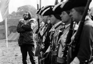 Stanley Kubrick durante le riprese di Barry Lyndon