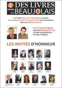 Affiche invites d'honneur du salon des Livres en Beaujolais 2017