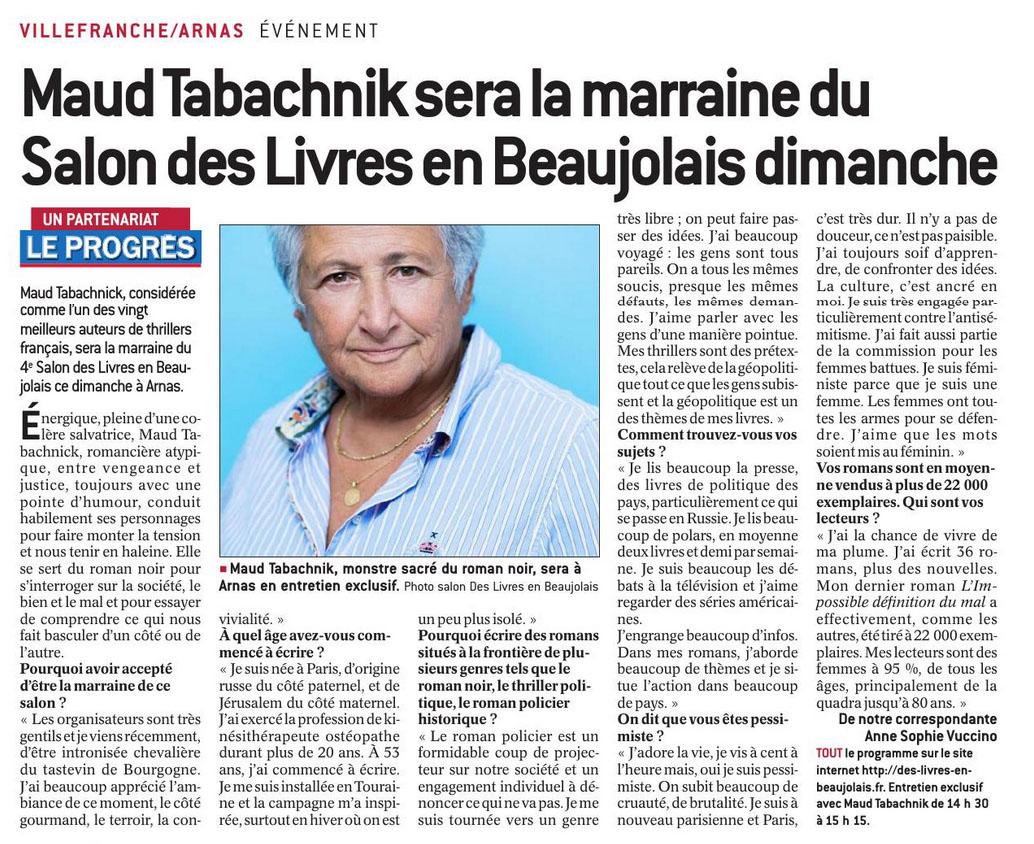 Le Progres interview Maud Tabachnik 171114