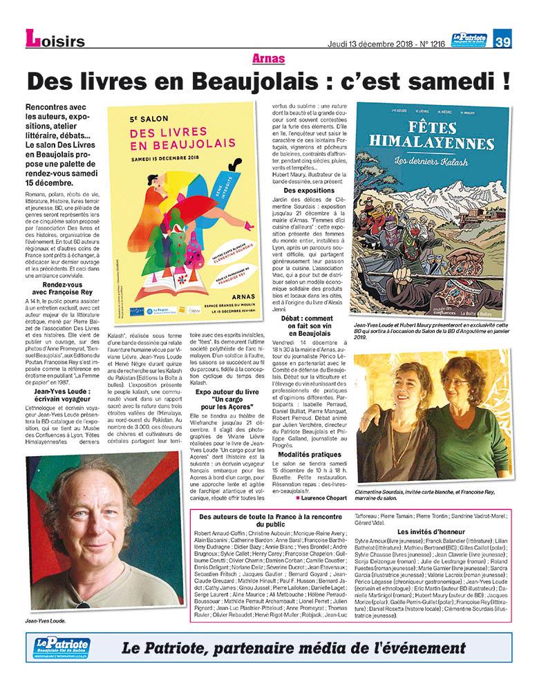 Des livres en beaujolais c est samedi le patriote 181213