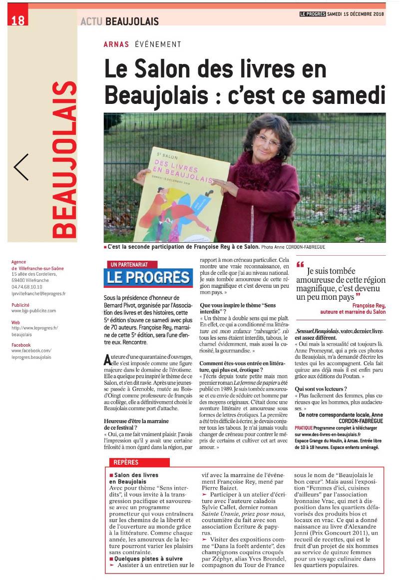 Interview francoise rey salon des livres en beaujolais le progres 181215