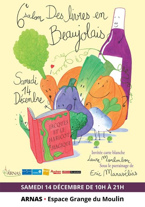 L'Affiche du 6e salon Des Livres en Beaujolais par Laure Monloubou