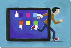 Alternatives aux écrans. L'illustration représente un homme qui s'échappe de son écran d'Ipad en courant et qui est retenu par ses Apps.