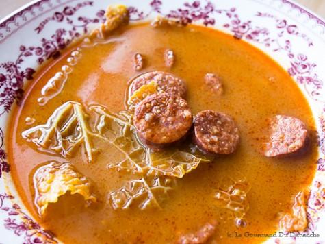 Soupe au chorizo et au chou