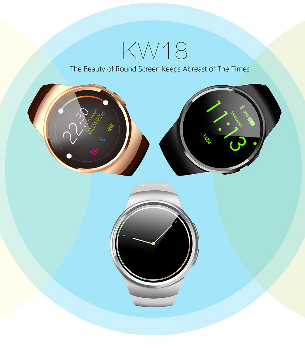 KingWear KW18 1.3 inch Round Dial Smartwatch Phone MTK2502 IPS Screen Pedometer Sedentary Reminder Bluetooth 4.0 Heart Rate Monitor- Champagne gold Micro SIM Card