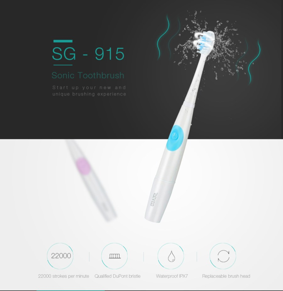 SEAGO SG - 915 Sonic Toothbrush Dental Safeguards Oral Health Care Cleaning Tools with Replaceable Brush Head