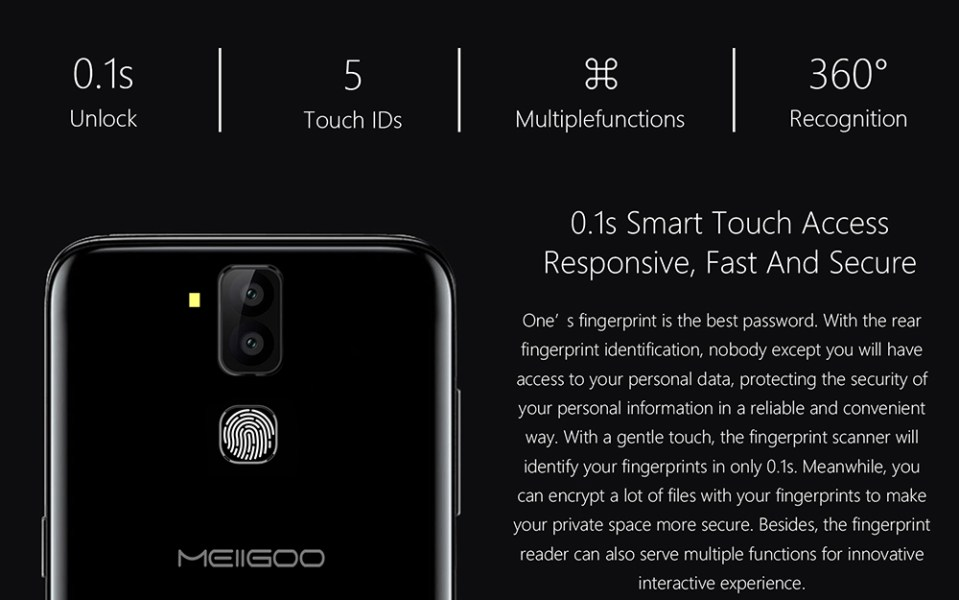 MEIIGOO S8 4G Phablet Android 7.1 6.1 inch MTK6750T 1.5GHz Octa Core 4GB RAM 64GB ROM 13.0MP + 5.0MP Dual Rear Cameras Fingerprint Scanner