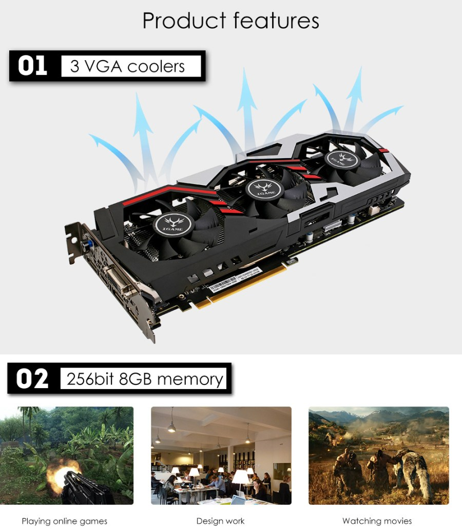 Original GeForce iGame GTX 1080 UT V2 Top Colorful Graphics Card 256bit GDDR5X Computer Hardware with Cooler Fan
