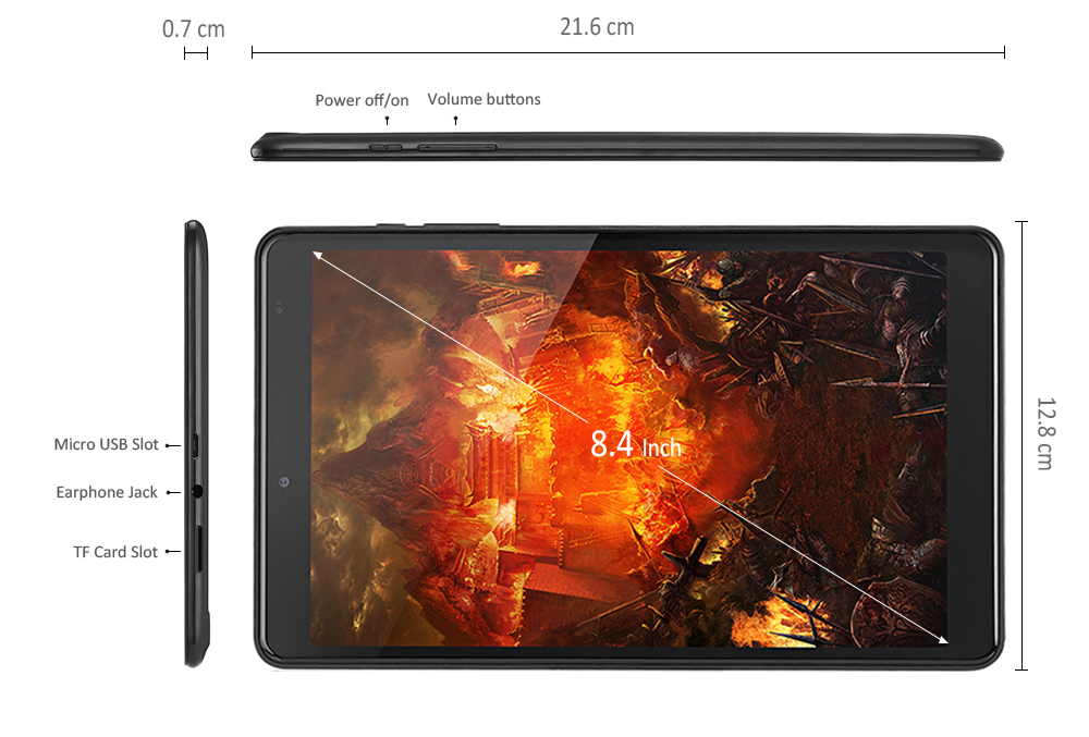 Chuwi Hi9 Tablet PC 8,4 pouces Android 7.0 MTK8173 Quad Core 4 Go de RAM 64 Go ROM double WiFi