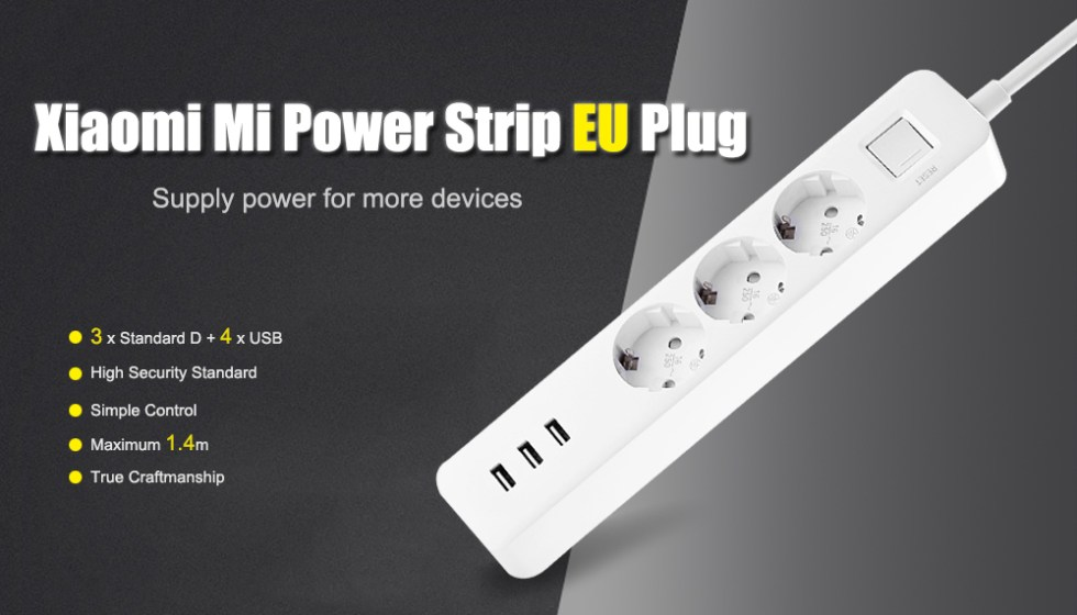 Prailgintuvas Xiaomi Power Strip su USB