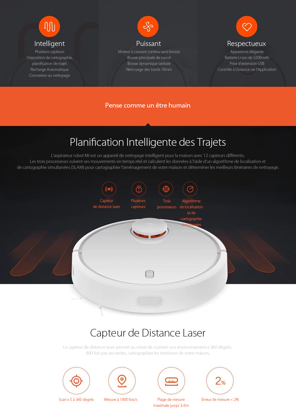 Xiaomi Robot Aspirateur Intelligent- White Xiaomi International Version