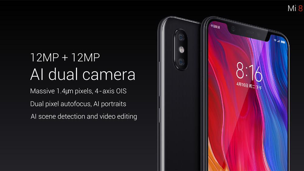 Xiaomi Mi 8 4G Phablet 6.21 inch MIUI 9 Snapdragon 845 Octa Core 2.8GHz 6GB RAM 128GB ROM 12.0MP Dual Rear Camera Fingerprint Sensor 3400mAh Built-in- Black 6+128GB