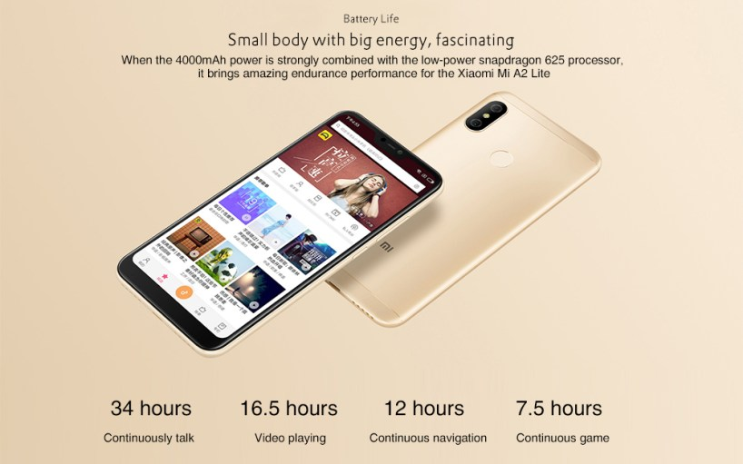 Xiaomi Mi A2 Lite 4G Phablet 5.84 inch Android 8.1 Qualcomm Snapdragon 625 Octa Core 2.0GHz 3GB RAM 32GB ROM 12.0MP + 5.0MP Dual Rear Cameras Fingerprint Sensor 4000mAh Built-in- Black 3GB RAM + 32GB ROM