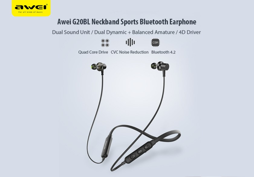 Awei G20BL Wireless Sports Bluetooth Stereo In-ear Earphone Magnetic Adsorption Earbuds with Mic- Black