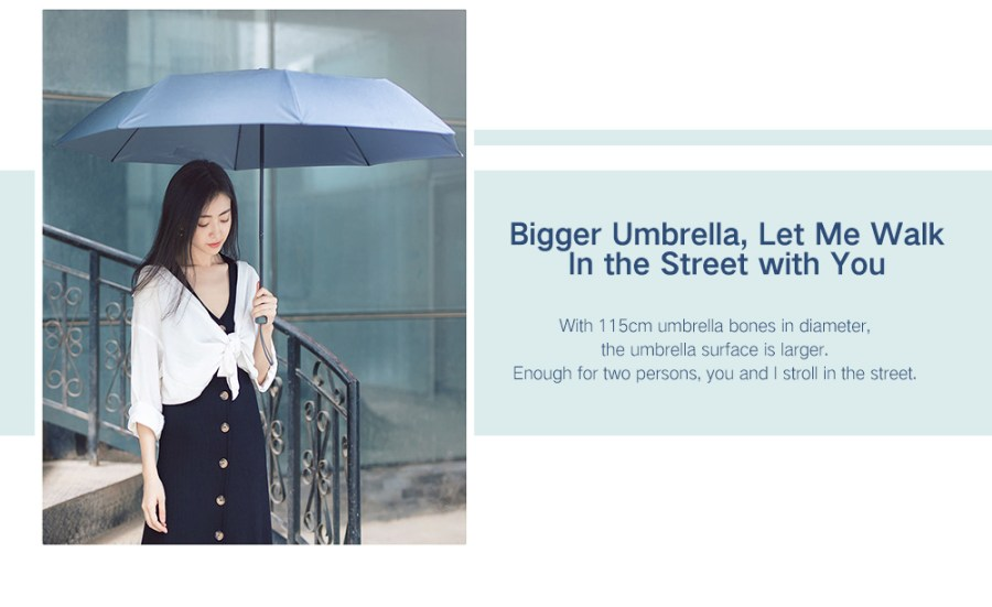 90FUN Practical Waterproof Rainy Sunny Umbrella from Xiaomi Youpin- Black