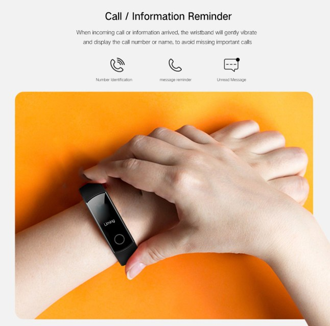 0.95 inch Screen Bluetooth 4.0 Call / Message Reminder Heart Rate Monitor Blood Pressure Functions- Black