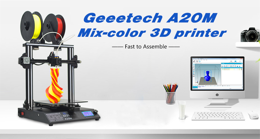GEEETECH A20M Mix-color 3D Printer 255 x 255 x 255mm- White EU Plug