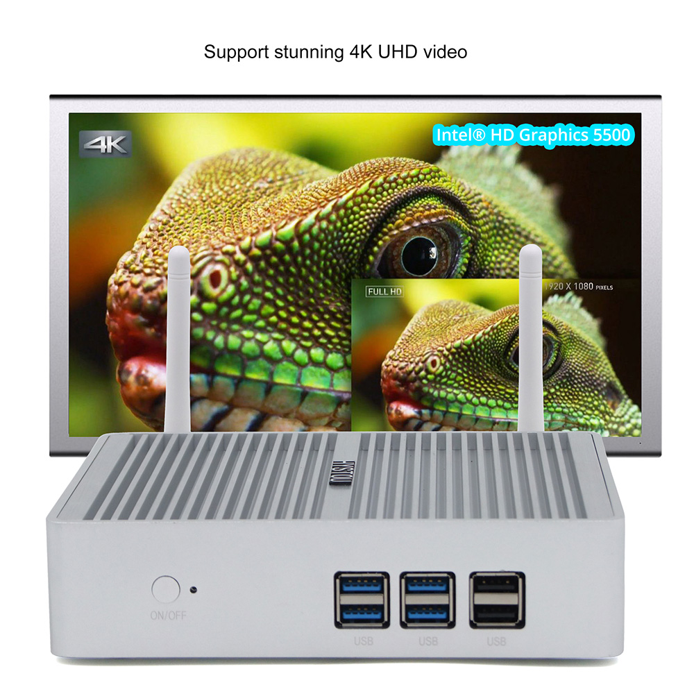 HYSTOU P06 I3 5005U Mini PC sans ventilateur Intel Core i3 5005U / Intel HD Graphics 5500 / extensible 2,5 pouces HDD / 2.4G + WiFi 5G / 4 x USB3.0 / 1Gbps LAN / Support H.265 4K- Gris 4G + 256G