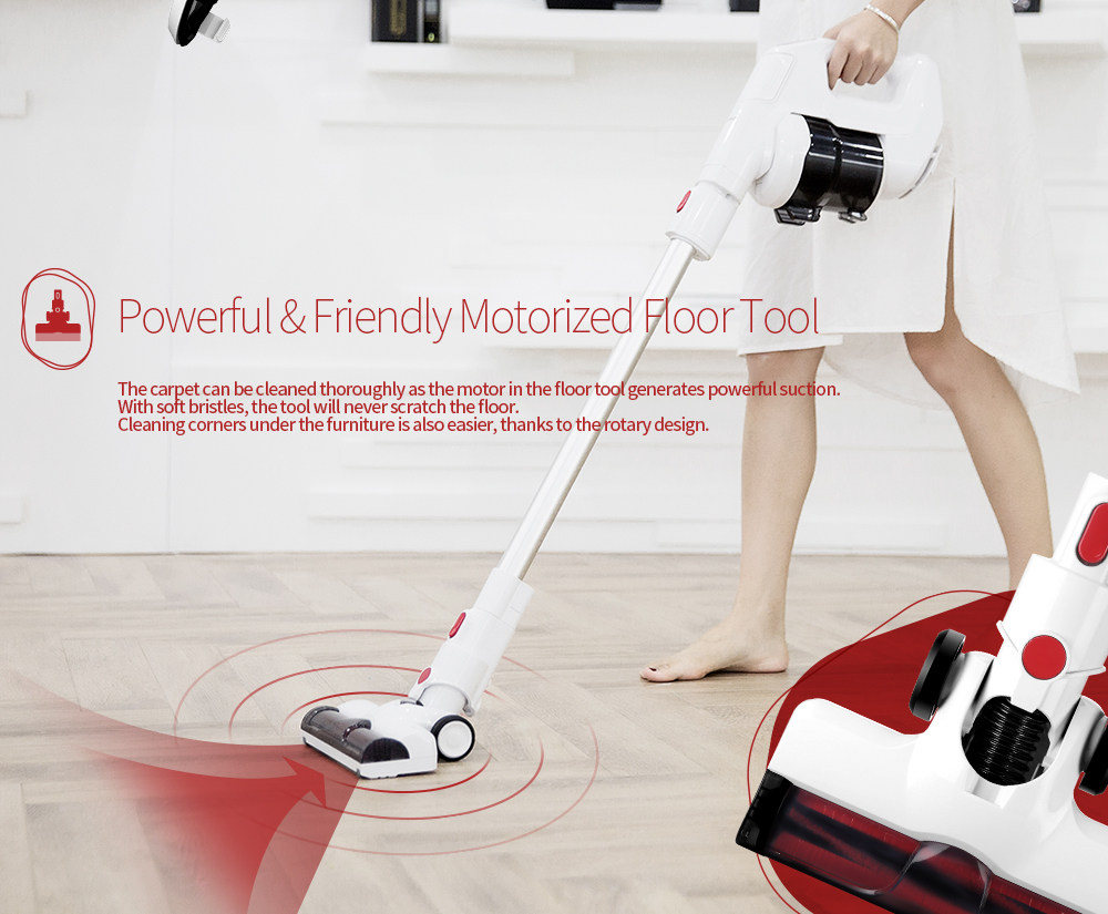Alfawise FJ - 166A Rechargeable Wireless Handheld Vacuum Cleaner- White EU Plug