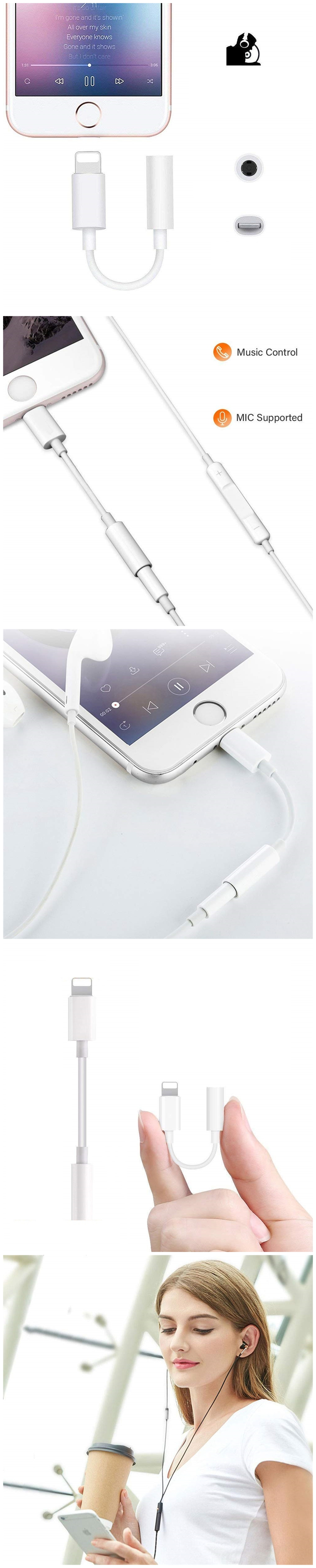 3.5mm Jack Aux Earphone Audio Adapter Cable for iPhone 7 Plus / 7  and for iOS 10.2 Below- White