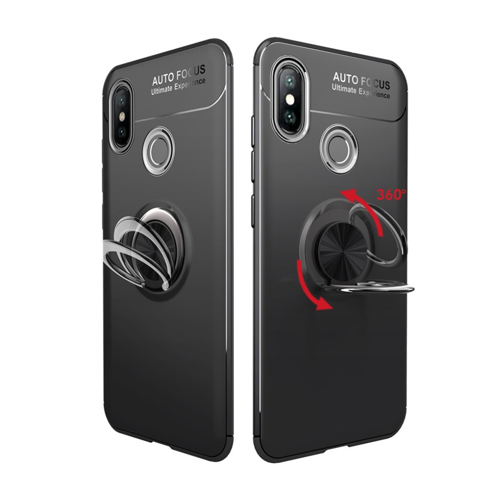 Fashion Ring Stand Slim Armour Shockproof Case Cover for Xiaomi 8- Red