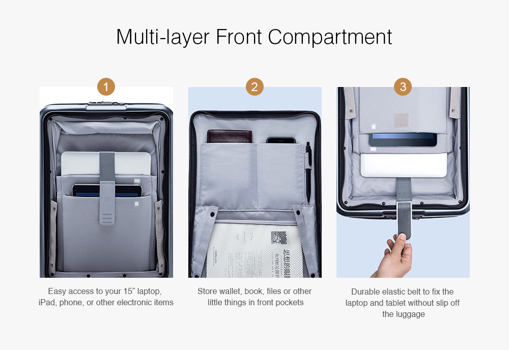 Xiaomi Business 20-inch Opening Cabin Travel Suitcase with Universal Wheel- Gray