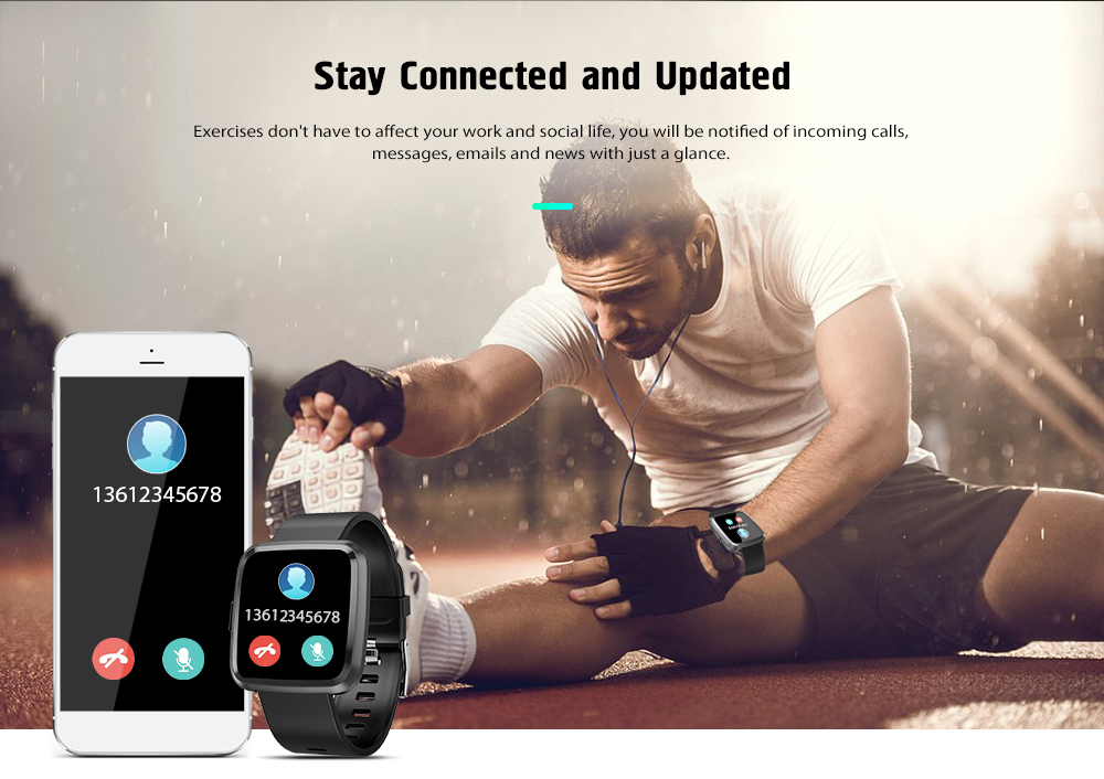 Alfawise Y7 Color Square Screen Smart Watch- Black
