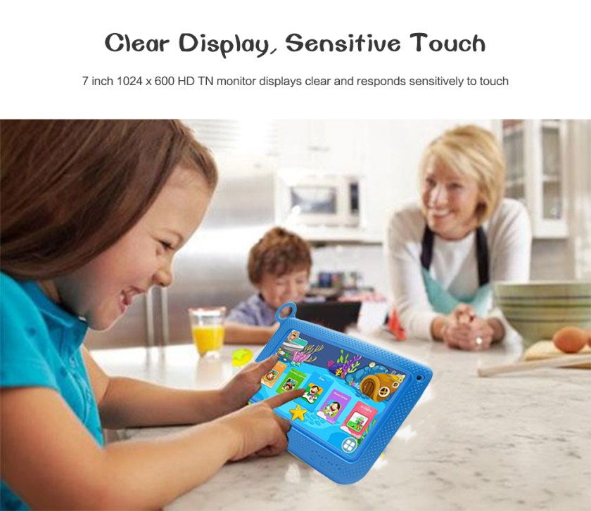TDD - 710 - 1 Kid Tablet PC 7 inch Android 4.4 OS A33 Quad Core 1.3GHz 512MB RAM 8G ROM Dual Cameras OTG Function- Deep Sky Blue