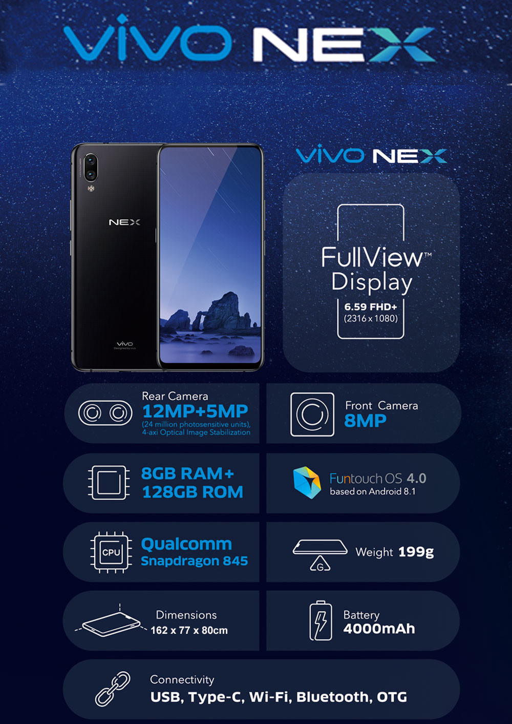 vivo nex 4g phablet 6 59 inch android 8 1 snapdragon 845 octa core 2 8ghz 8gb ram