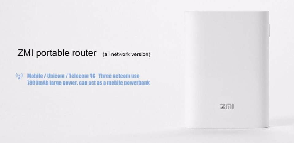 ZMI MF855 Portable Wireless Router with 7800mAh Mobile Power Bank Support 4G Network ( Xiaomi Ecosystem Product )- White
