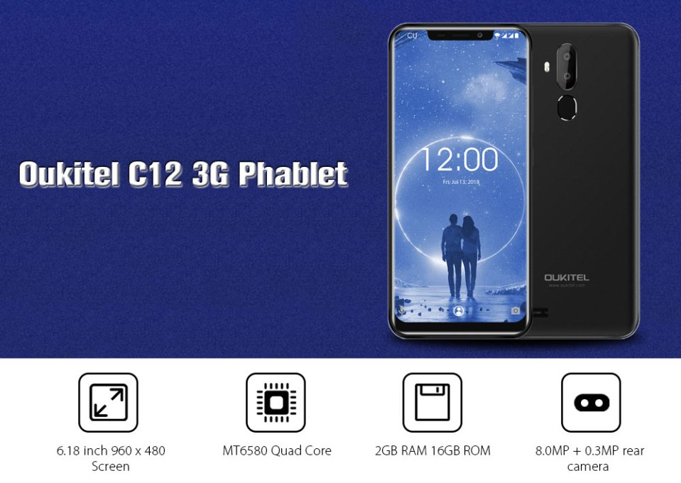 Oukitel C12 3G Phablet 6.18 inch Android 8.1 MT6580 Quad Core 2GB RAM 16GB ROM 2.0MP Front Camera Fingerprint Sensor 3300mAh Built-in- Black