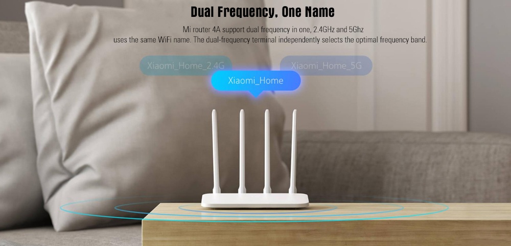 Xiaomi Mi 4A Router Gigabit Edition 2.4GHz + 5GHz WiFi 16MB ROM + 128MB DDR3 High Gain 4 Antenna Remote APP Control Support IPv6 - White CHINESE VERSION