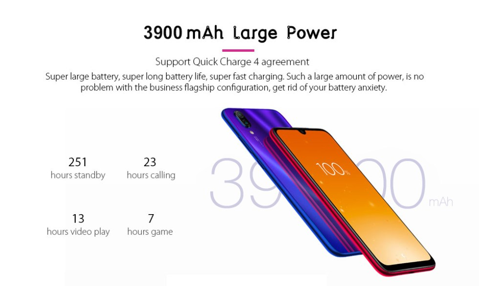 Xiaomi Redmi Note 7 4G Phablet 6.3 inch MIUI 10 ( Android 9.0 Pie ) Qualcomm Snapdragon 660 Octa Core 2.2GHz 4GB RAM 64GB ROM 48.0MP + 5.0MP Rear Camera Fingerprint Sensor 3900mAh Built-in- Blue